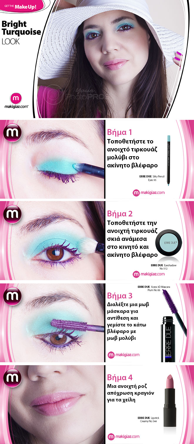 Get The MakeUp - Bright Turquoise Look by Makigiaz Com