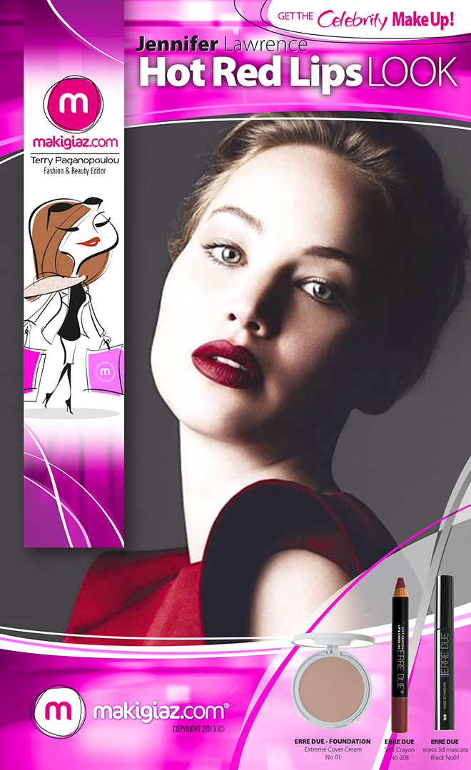 Get the Celebrity Look - J.Lawrence Red Hot Lips - Makigiaz Com